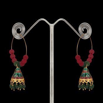 Green and Maroon Meenakari  Earring