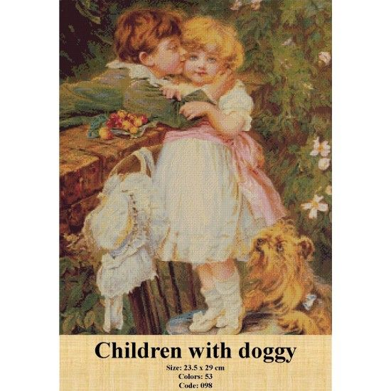 CrossStitch Set Children with doggy http://gobelins-tapestry.com/portraits/945-children-with-doggy.html