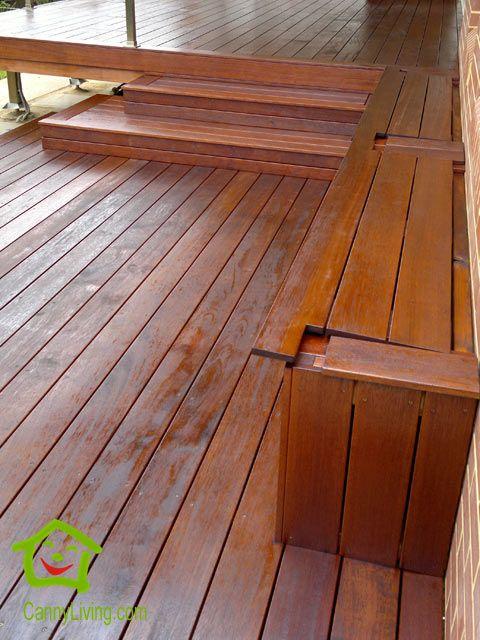 Decking bench on Merbau deck
