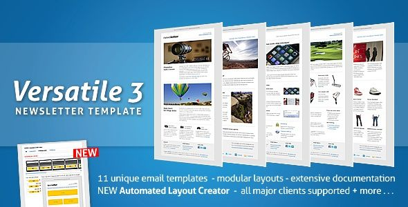 The combination between the 11 unique newsletter templates, an easy to use automated layout creator that allows the creation of new newsletter templates instantly, modular layouts that simplify extending/ adapting newsletter templates and robust, properly tested and commented source code makes Versatile Newsletter 3 one of the most complete newsletter packages you can buy at themeforest.