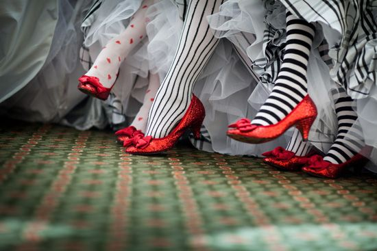 striped stockings at an Wizard of Oz themed wedding.