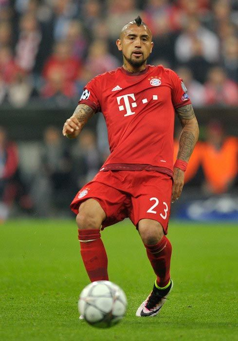 Chilean footballer, Arturo Vidal in action during the game between FC Bayern Munich and SL Benfica at Allianz Arena on April 5, 2016 in Munich, Germany...