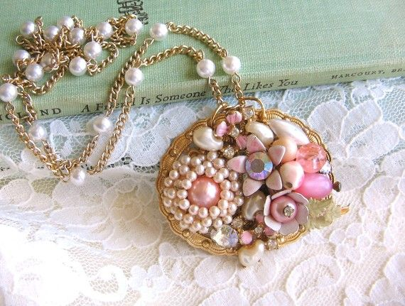 Pretty in Pink repurposed vintage jewelry shabby chic sparkle unique collage necklace