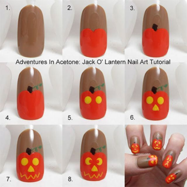 Simple Step By Step Scary Halloween Nail Art Tutorials For Beginners