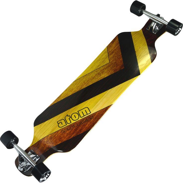 """Atom 39"""" Drop Deck Longboard - Woody, Brown"""