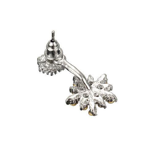 Copo de nieve elegantes lado pendientes dobles del perno prisionero del cristal de diamante artificial del oído código( 1035915)