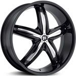 Helo 844  Wheels Gloss Black/Chrome Accents