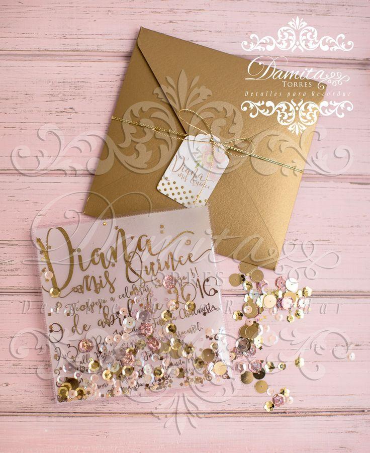 Invitacion XV años, invitation sweet seventeen, invitation gold, iinvitation shaker, invitation pink and gold