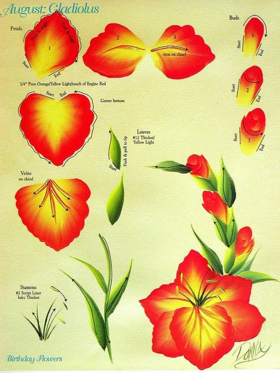 Set of ONE STROKE FLOWERS INSTRUCTIONAL GUIDES Donna Dewberry 32 FLOWERS
