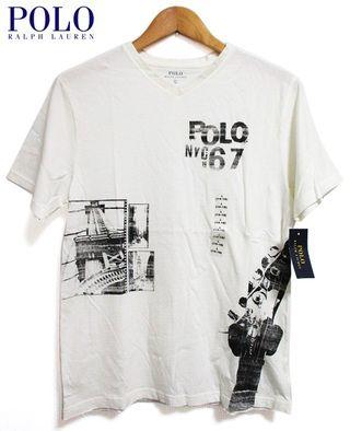 【新品】POLORALPHLAUREN/ラルフローレンPOLONYC1967ギターヘッドVネック半袖Tシャツオフホワイト【サイズ:Boy'sS,Boy'sM,Boy'sL,Boy'sXL】【レディースサイズ】【CottonGraphicV-NeckTee】【あす楽対応】【古着mellow楽天市場店】