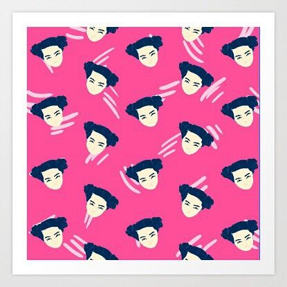 Bjork tribute pattern #bjork #pattern #patterns #pink #illustration #girl #art #drawing #color #puertorico #design #society6 #print #supakid