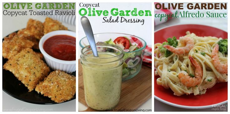 Check out our list of 25 Copycat Olive Garden Recipes to find out how to make your favorite Olive Garden dishes at home! Details at Frugal Coupon Living.