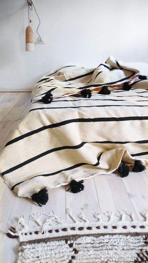 Moroccan POM POM Wool Blanket