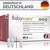 BabyFORTE FolsäurePlus Vitamine • 60 Kapseln • Für Kinderwunsch, Schwangerschaft & Stillzeit • Folsäure, Eisen, Jod • Vegan