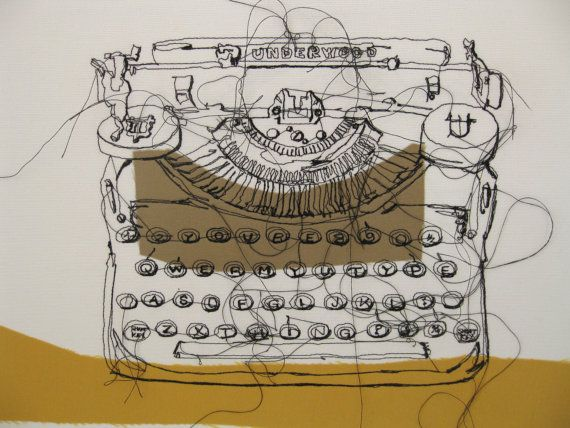 Antique Underwood Typewriter with ''You're My Type Of Thing'' keys Embroidered Canvas Mustard and Brown
