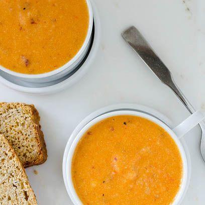 Σούπα με ψητές κόκκινες πιπεριές και πατάτα