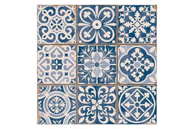 Tangier Blue Decor Tile 33x33cm - Tons of Tiles