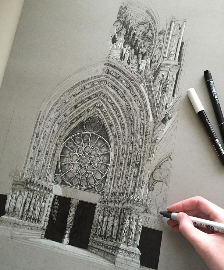 #art #drawing #pen #sketch #illustration #notredame #france #paris #architecture #gothicarchitecture by phoebeatkey
