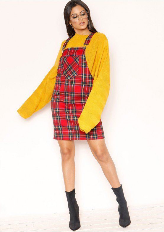4112d8d8bf Shani Red Check Dungaree Dress Missy Empire