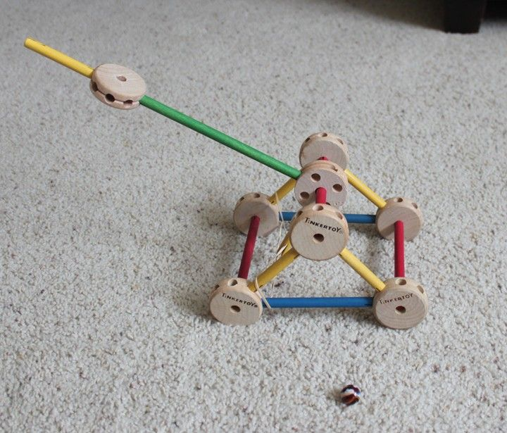 Use Tinker Toys to make a fun catapult