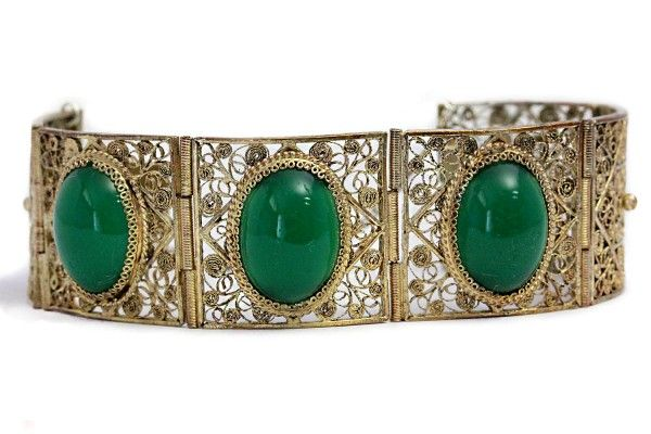 Unique Antique Filigree Bracelet Green Agate Gold Silver Art Deco https://tezsah.com/shop/en/detail/index/sArticle/1471