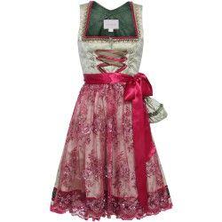 Hellgrünes Dirndl mit pinker Spitzenschürze von Schmittundschäfer. Zu leihen bei dresscoded.com.#dresscoded