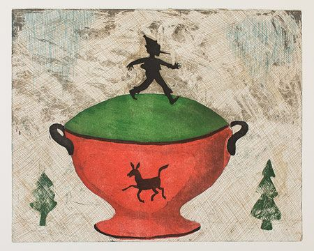 "'Pinocchio' (2013) from the ""Fairytale Soup"" series by Finnish artist  printmaker Kirsi Neuvonen. Line etching, aquatint, copy etching, edition of 70, 40 x 50 cm. via the artist's site, Copperfield"