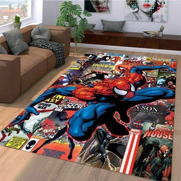 Marvel Superhero Spiderman Comic Movie Rug Room Carpet Sport