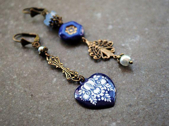 Asymmetrische Ohrringe, Chandelier, Blau Ohrringe, herz Ohrringe