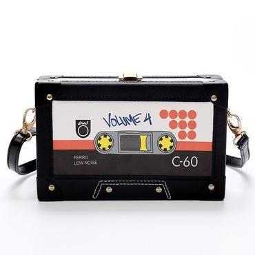 2f6788d456aa Personality tape cassettes evening clutch bag women hard box clutch ...