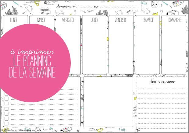 A imprimer : le planning de la semaine