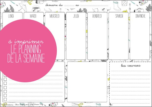 A imprimer : le planning de la semaine by Lait Fraise Mag & Alice Dufay