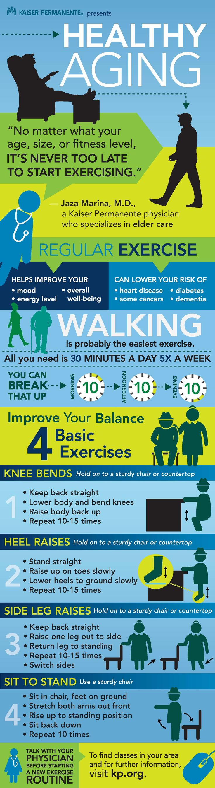 Not in the habit of exercising? Time for a new habit. Check out these healthy aging exercise tips for older adults to improve strength and balance. #YoungAtHeart