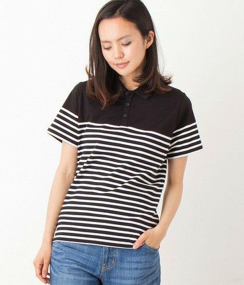LE JUN WOMEN(ル ジュン ウィメン)のパネルボーダーポロシャツ(ポロシャツ) ブラック