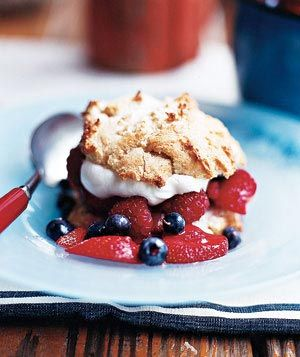 Yum! Patriotic sweets and sips.: Desserts Recipes, Food, Summer Desserts, Blue Desserts, July Desserts, 4Th Of July, Shortcake Recipes, Strawberries Shortcake, Real Simple