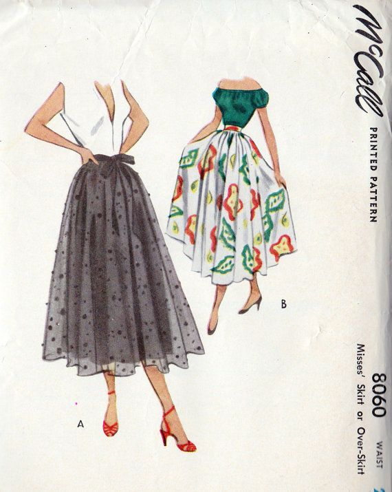 1950s Misses' Circle Skirt - if you are more comfortable with a pattern than measuring it out yourself... McCalls Vintage Pattern.. #8060