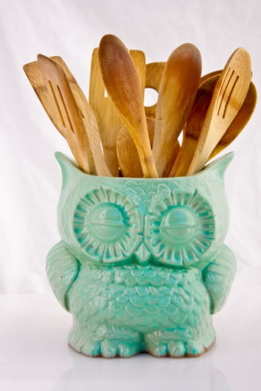Large Kitchen Utensil Holder Ceramic Owl By Claylicious On Etsy