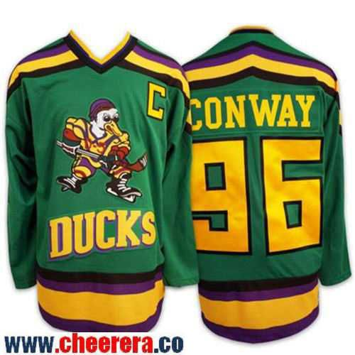 Men's Mighty Ducks Of Anaheim #96 Charlie Conway 1991-92 Green CCM Throwback Stitched Vintage Hockey Jersey