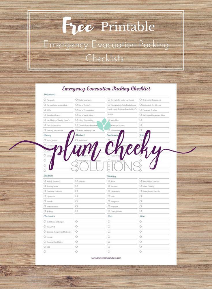 Free printable emergency evacuation packing checklist.