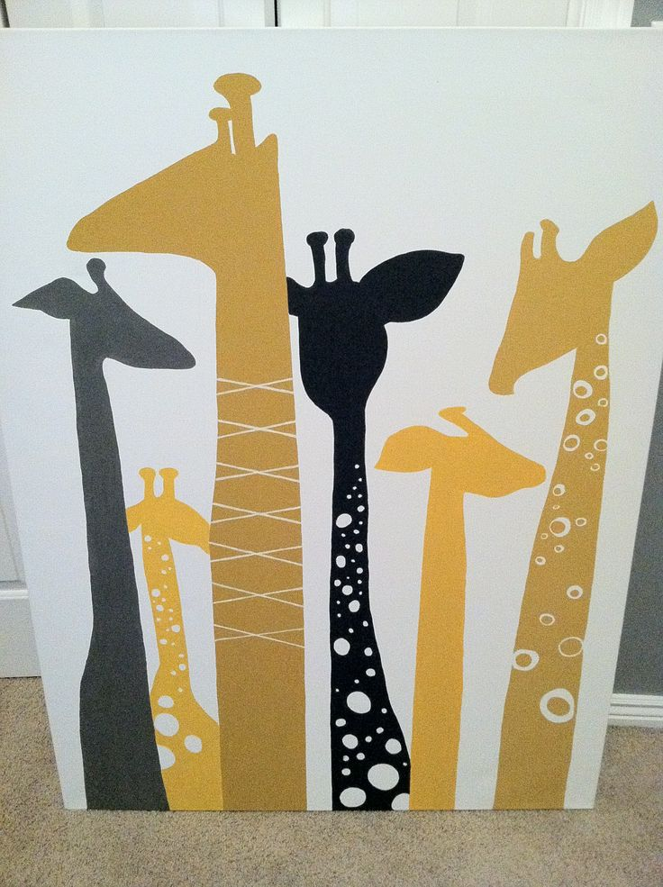 giraffe picture could probably cut them out with a Silhouette onto vinyl or fun wall paper?!