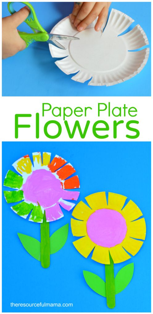 Flores hechas con platos de plástico. Actividad para la primavera