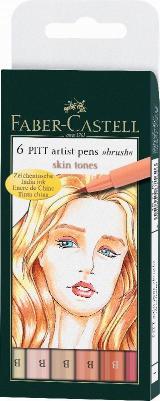 Carioca Art Pen PITT - set 6 Skin  Markere cu cerneală cu capilarii, pentru arta modernă – schite, desene, picturi, cu varf de tip pensula. Ideal