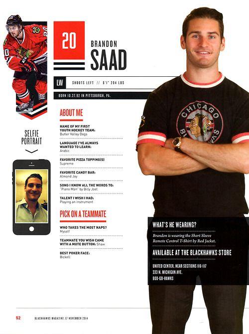 20 // BRANDON SAAD - Blackhawks Magazine surveys 2014-15