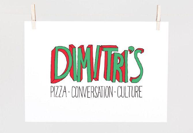 Conceptual logo design for Dimitri's Pizzeria, Crown St, Sydney.