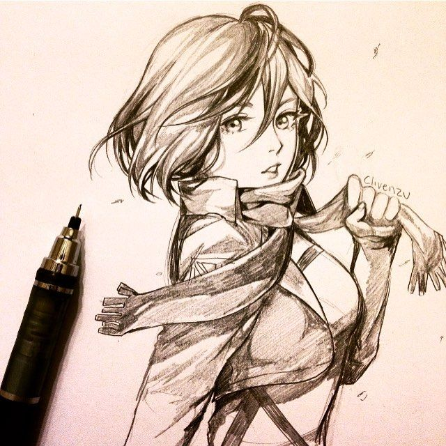 Mikasa Ackerman ✨  I've been in the mood to draw fanart lately ^u* feel free to comment a character and I'll pick one! . #sketch #attackontitan #mikasa #anime #illustration #fanart
