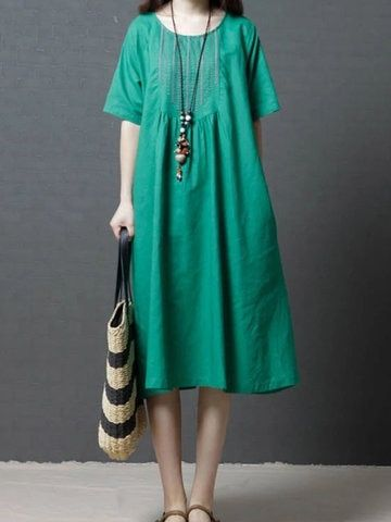 6423d5acd48 Short Sleeve O-Neck Overhead Patchwork Pockets Solid Maxi Dresses in ...