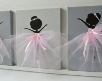 Original Dancing Ballerinas canvas painting decorated with tulle, silk ribbon and crafted rozes. The background and ballerinas are painted with acrylic paint and finished with light coat of varnish. Canvas size: 12 X 12