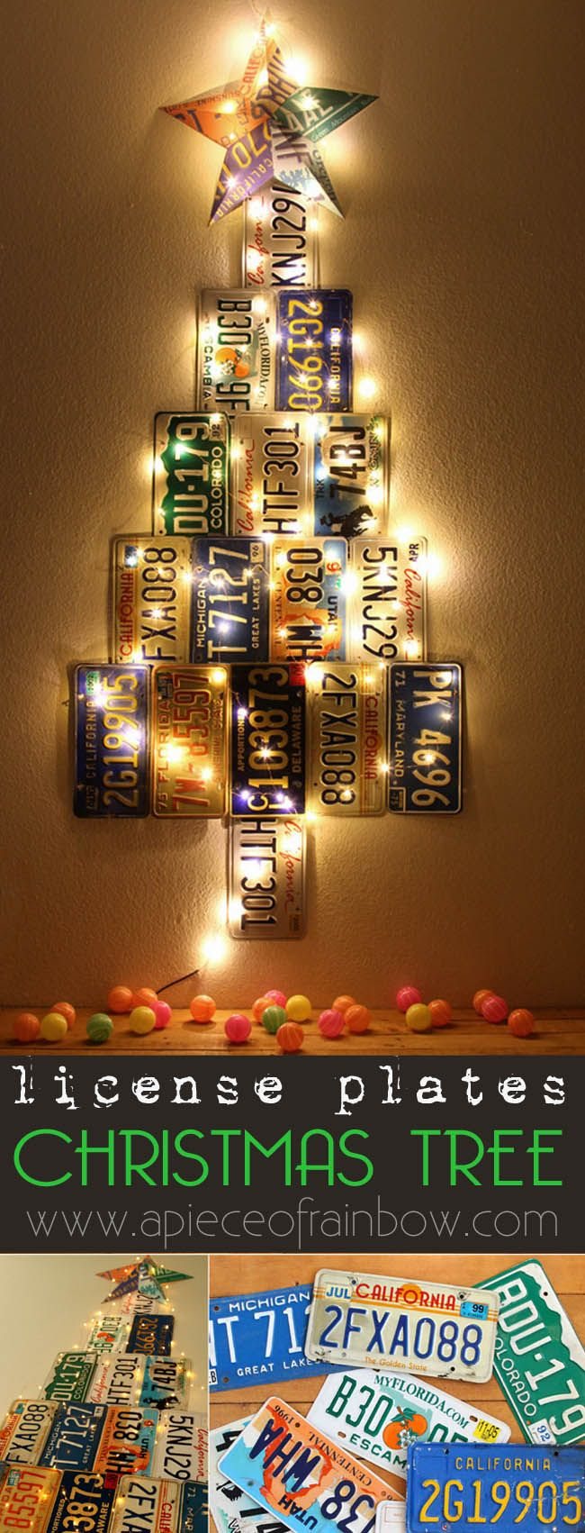 License Plate Christmas Tree & 186 best License Plate Crafts images on Pinterest | Licence plate ...