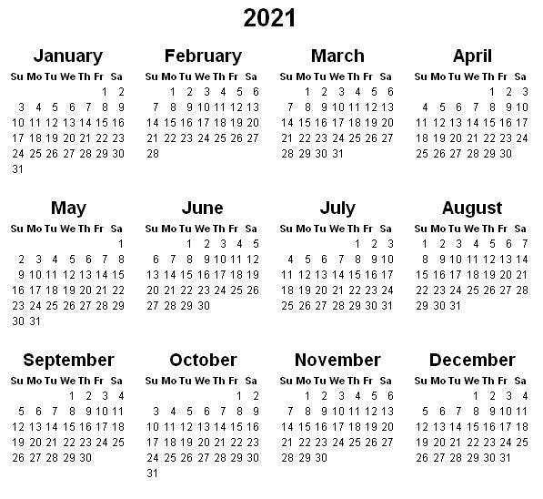 2021 Calendar Printable 2021 Calendar Calendar Printables Printable Yearly Calendar