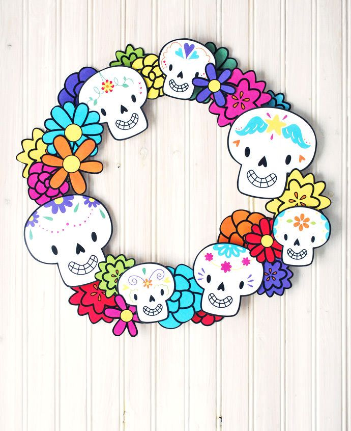 Free printable elements for your kids to create their own Día de los Muertos wreath